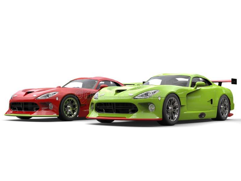 Rasa sid röda och galna gröna toppna racerbilar - förbi - sid på startlinje royaltyfri illustrationer