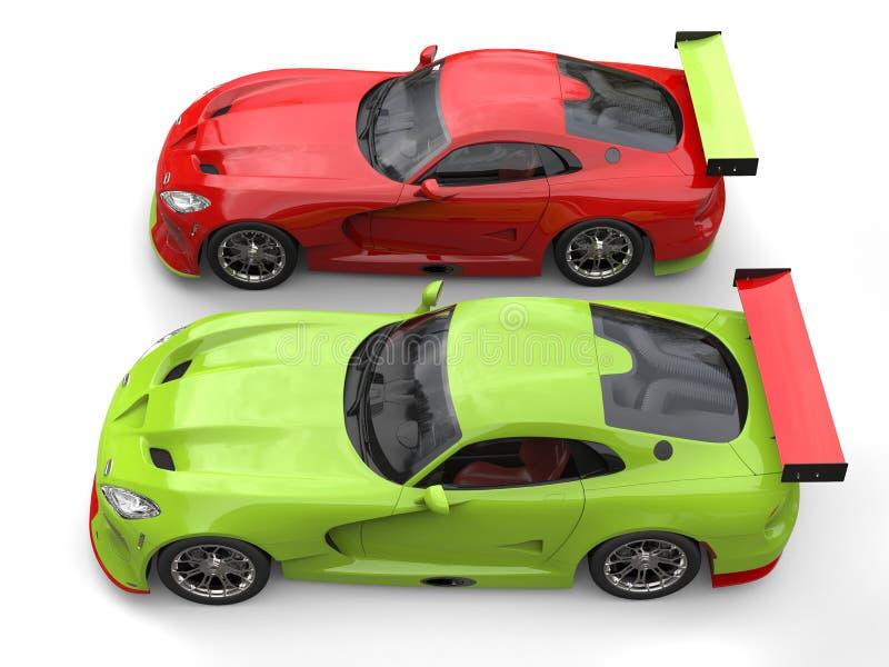 Rasa sid röda och galna gröna toppna racerbilar - förbi - sid på startlinje stock illustrationer