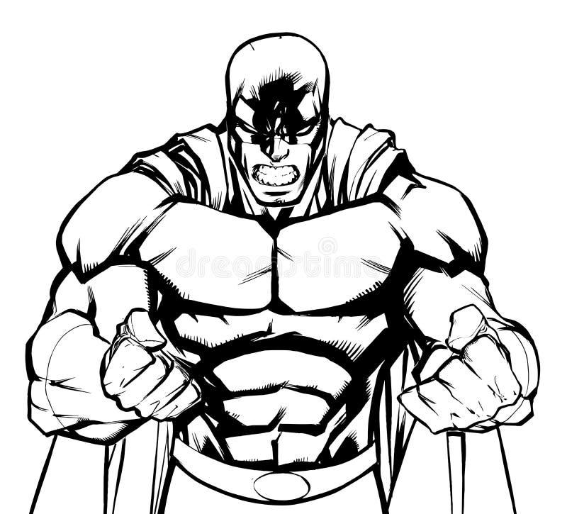 Rasa Superheroillustrationen royaltyfri illustrationer