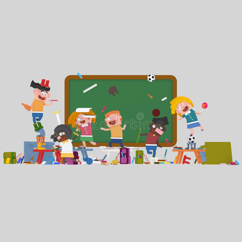 Rasa ungen och vänner i klassrum vektor illustrationer