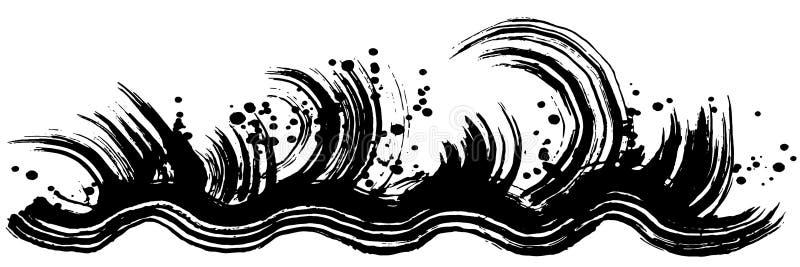 Rasa vågor borsteslaglängdillustration stock illustrationer