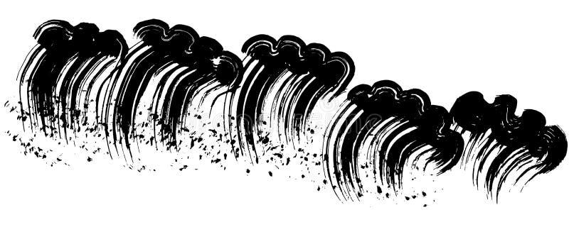 Rasa vågor illustratören för illustrationen för handen för borstekol gör teckningen tecknade som look pastell till traditionellt stock illustrationer
