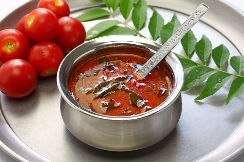 Rasam del tomate, sopa del tomate del estilo de Kerala fotos de archivo