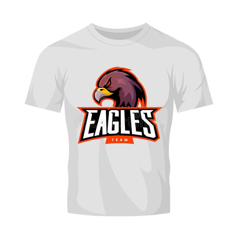 Rasande begrepp för logo för örnsportvektor som isoleras på den vita t-skjorta modellen stock illustrationer