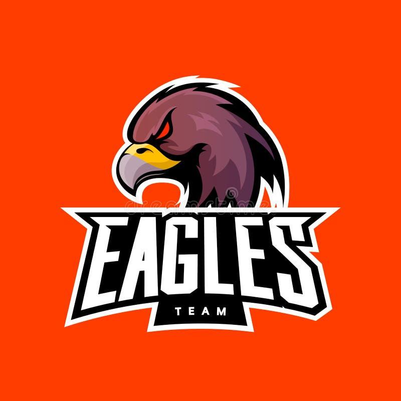 Rasande begrepp för logo för örnsportvektor som isoleras på orange bakgrund stock illustrationer