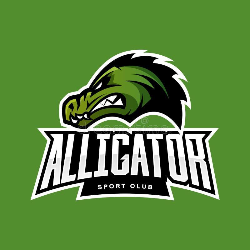 Rasande begrepp för logo för alligatorsportvektor som isoleras på grön bakgrund royaltyfri illustrationer