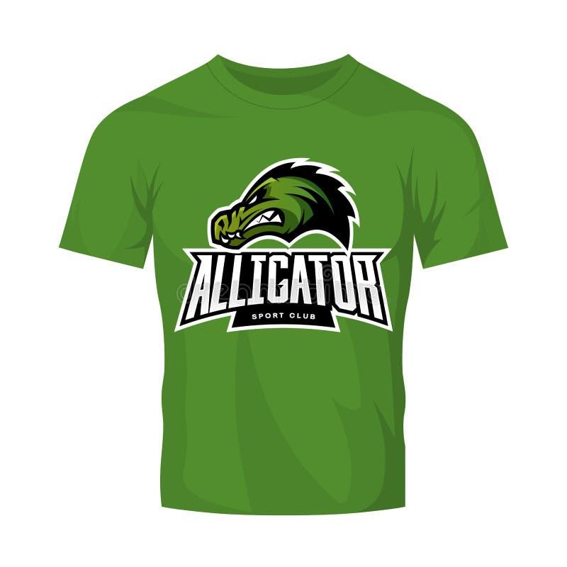 Rasande begrepp för logo för alligatorsportvektor som isoleras på grön t-skjorta modell stock illustrationer