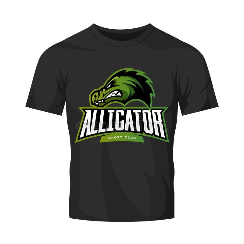 Rasande begrepp för logo för alligatorsportvektor som isoleras på svart t-skjorta modell royaltyfri illustrationer