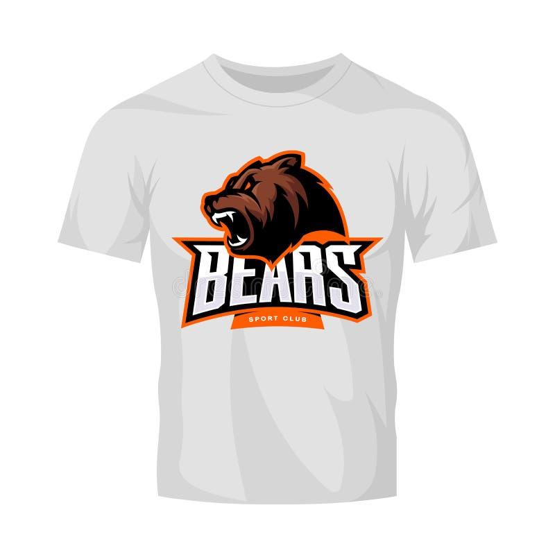 Rasande begrepp för logo för björnsportvektor som isoleras på den vita t-skjorta modellen royaltyfri illustrationer