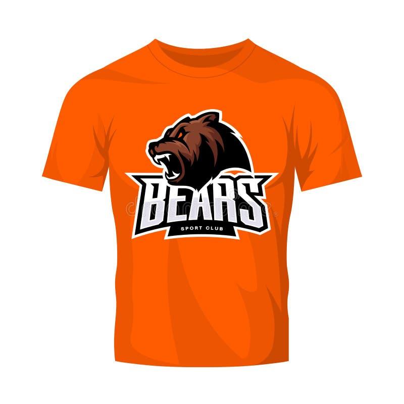 Rasande begrepp för logo för björnsportvektor som isoleras på orange t-skjorta modell royaltyfri illustrationer