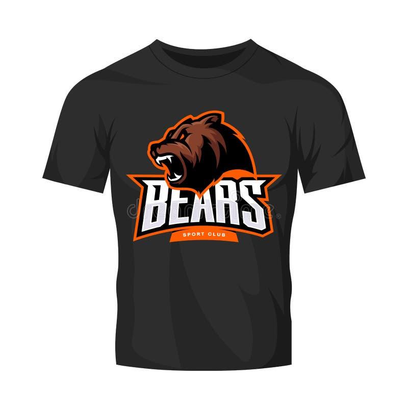 Rasande begrepp för logo för björnsportvektor som isoleras på svart t-skjorta modell vektor illustrationer
