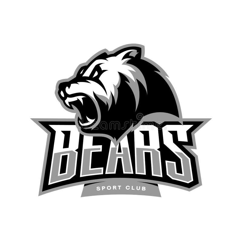 Rasande begrepp för logo för björnsportvektor som isoleras på vit bakgrund royaltyfri illustrationer