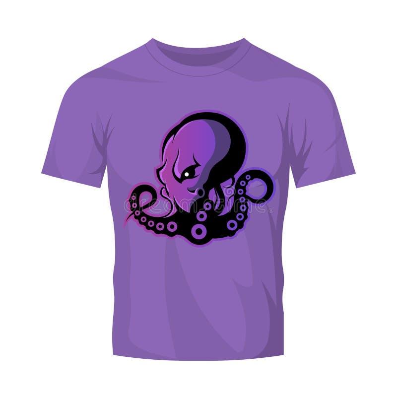Rasande begrepp för logo för bläckfisksportvektor som isoleras på purpurfärgad t-skjorta modell vektor illustrationer