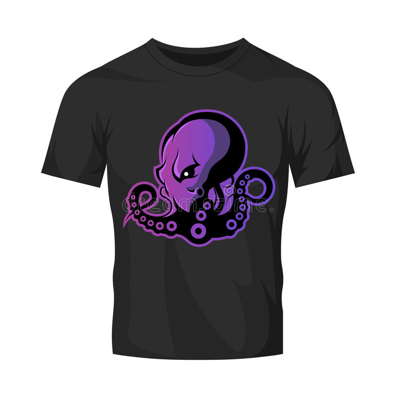 Rasande begrepp för logo för bläckfisksportvektor som isoleras på svart t-skjorta modell vektor illustrationer
