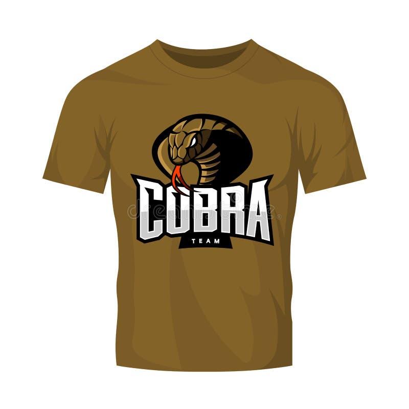 Rasande begrepp för logo för kobrasportvektor som isoleras på kaki- t-skjorta modell vektor illustrationer