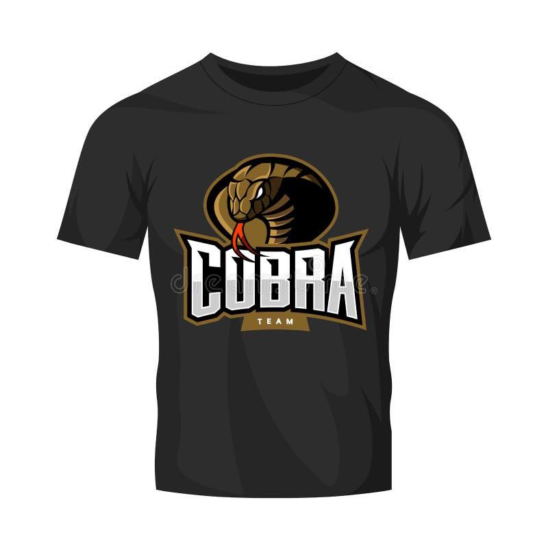 Rasande begrepp för logo för kobrasportvektor som isoleras på svart t-skjorta modell royaltyfri illustrationer