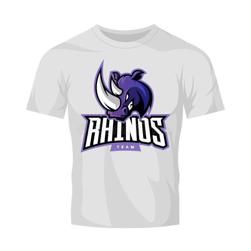Rasande begrepp för logo för noshörningsportvektor som isoleras på den vita t-skjorta modellen vektor illustrationer