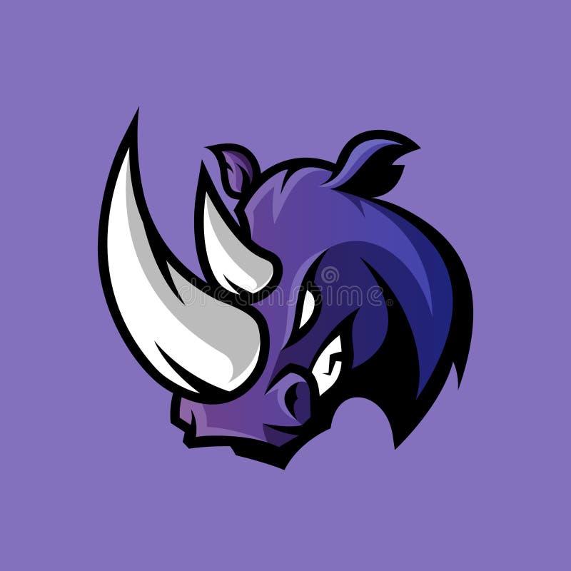 Rasande begrepp för logo för noshörningsportvektor som isoleras på purpurfärgad bakgrund royaltyfri illustrationer