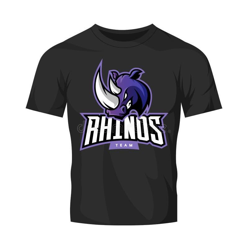 Rasande begrepp för logo för noshörningsportvektor som isoleras på svart t-skjorta modell vektor illustrationer