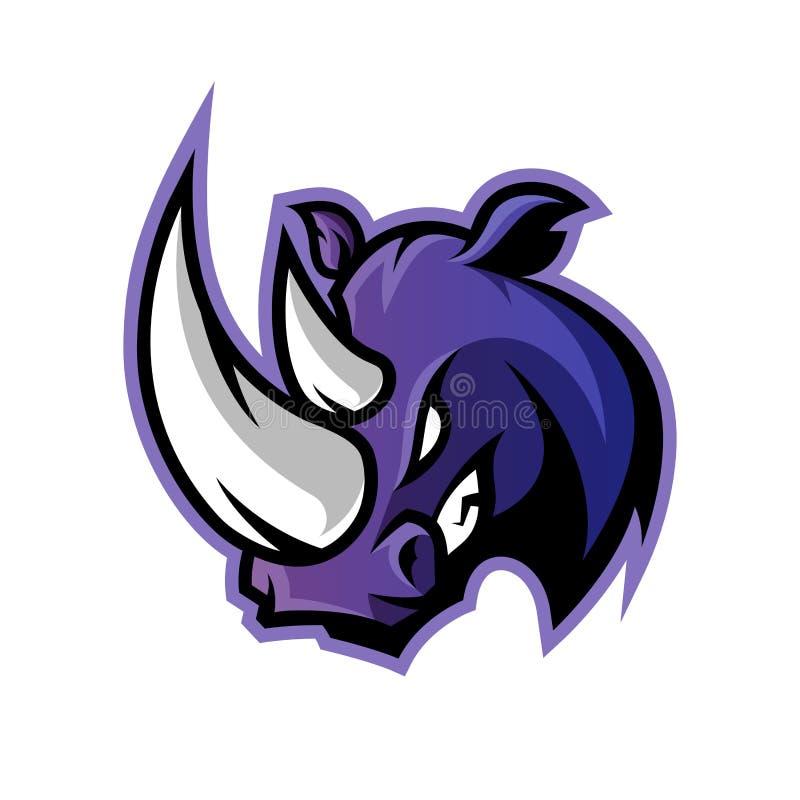 Rasande begrepp för logo för noshörningsportvektor som isoleras på vit bakgrund royaltyfri illustrationer