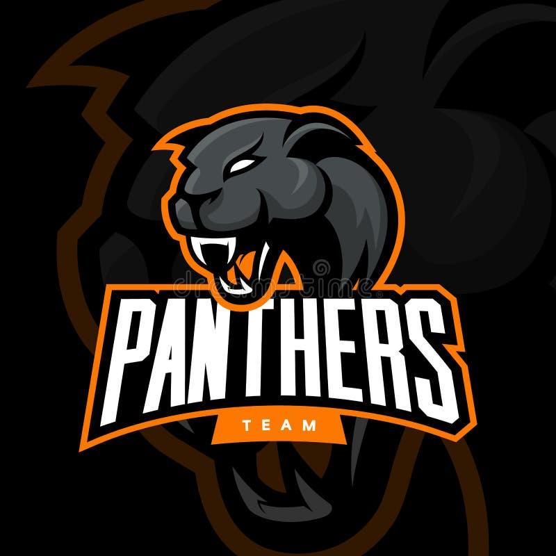 Rasande begrepp för logo för pantersportvektor som isoleras på mörk bakgrund royaltyfri illustrationer