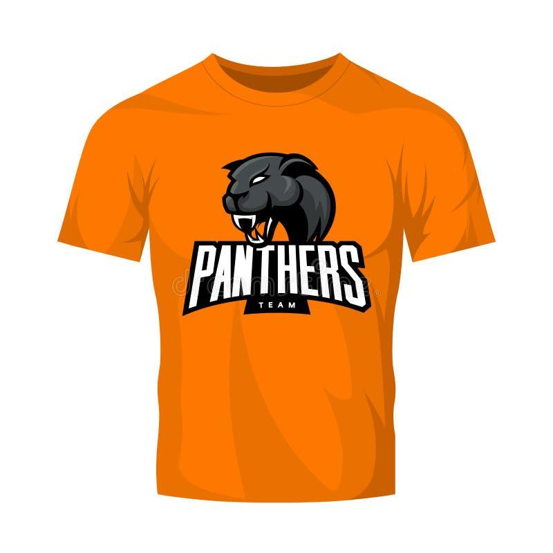 Rasande begrepp för logo för pantersportvektor som isoleras på orange t-skjorta modell royaltyfri illustrationer