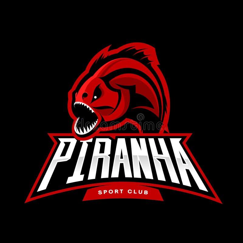 Rasande begrepp för logo för piranhasportvektor som isoleras på svart bakgrund stock illustrationer