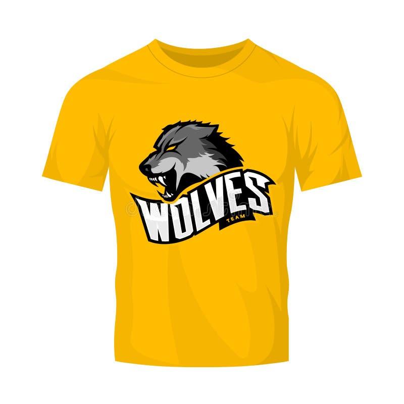 Rasande begrepp för logo för vargsportvektor som isoleras på gul t-skjorta modell stock illustrationer