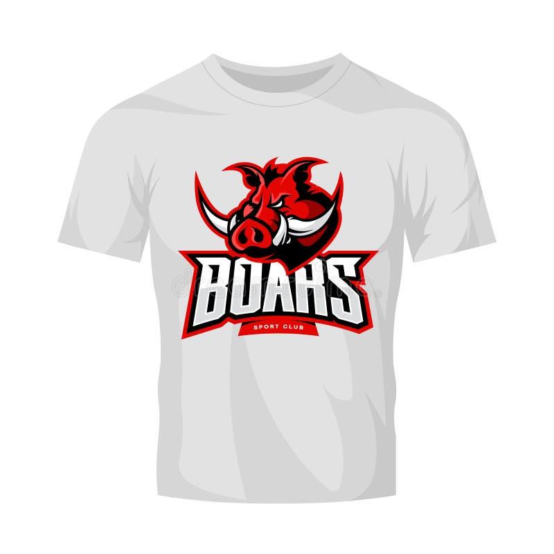 Rasande begrepp för logo för vektor för galtsportklubba på den vita t-skjorta modellen royaltyfri illustrationer