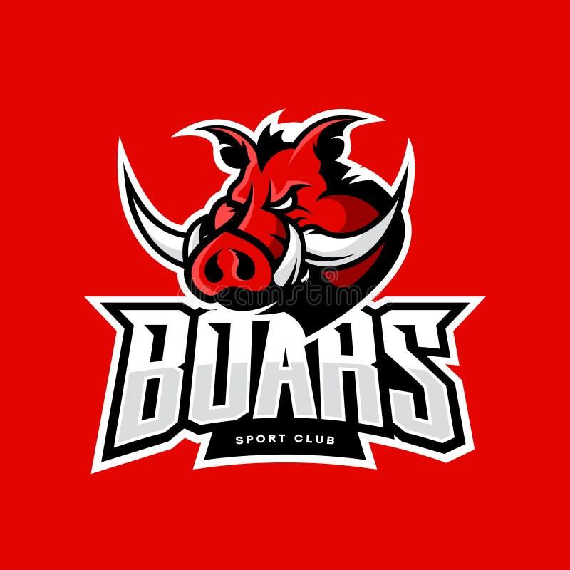 Rasande begrepp för logo för vektor för galtsportklubba som isoleras på röd bakgrund stock illustrationer