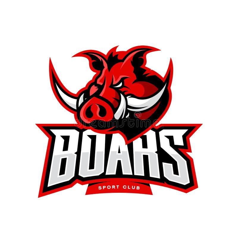 Rasande begrepp för logo för vektor för galtsportklubba som isoleras på vit bakgrund royaltyfri illustrationer
