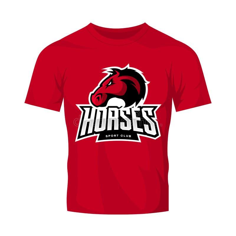 Rasande begrepp för logo för vektor för hästsportklubba som isoleras på röd t-skjorta modell royaltyfri illustrationer