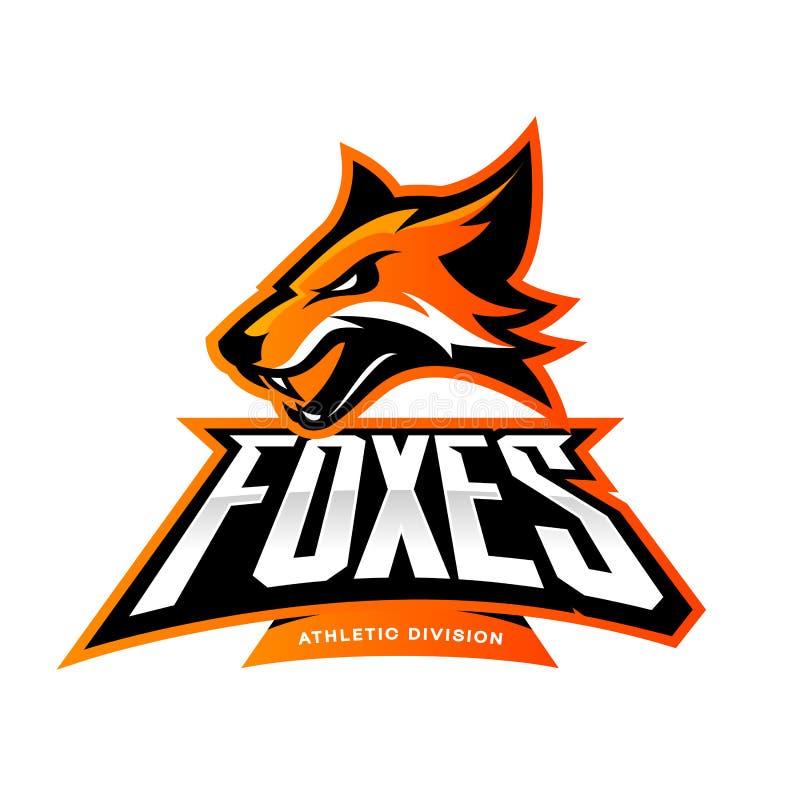 Rasande begrepp för logo för vektor för rävsportklubba som isoleras på vit bakgrund stock illustrationer