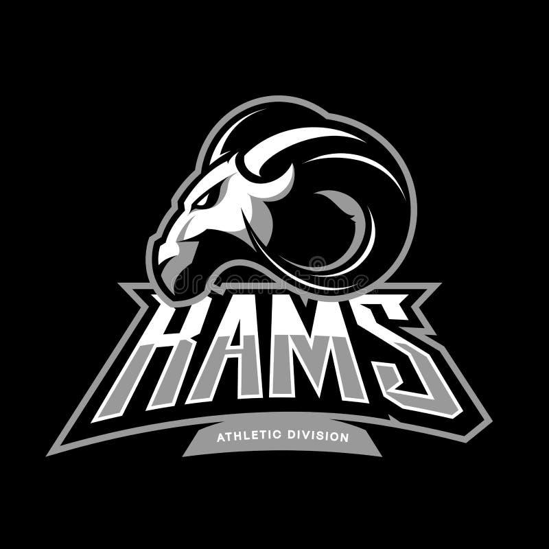 Rasande begrepp för logo för vektor för RAMsportklubba på svart bakgrund vektor illustrationer