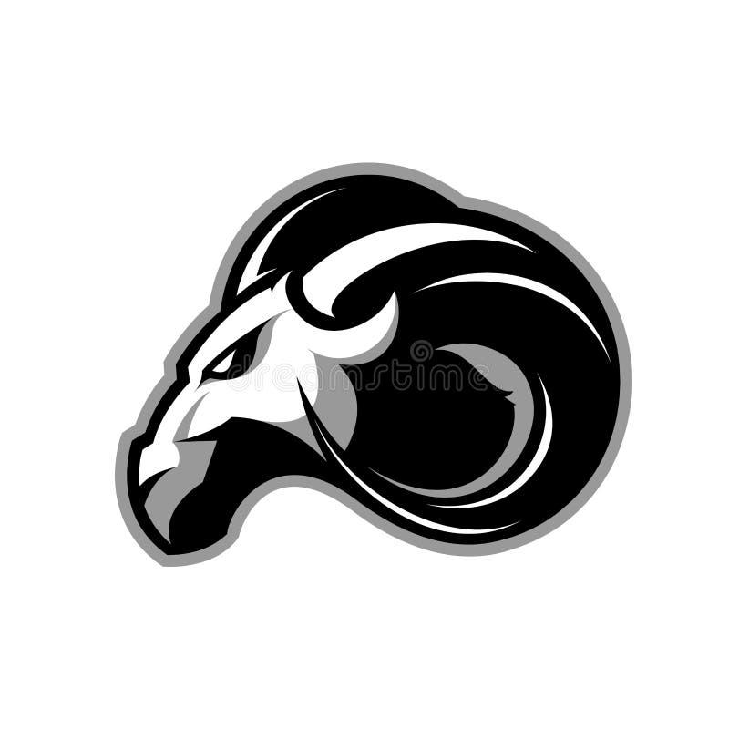Rasande begrepp för logo för vektor för RAMsportklubba på vit bakgrund stock illustrationer