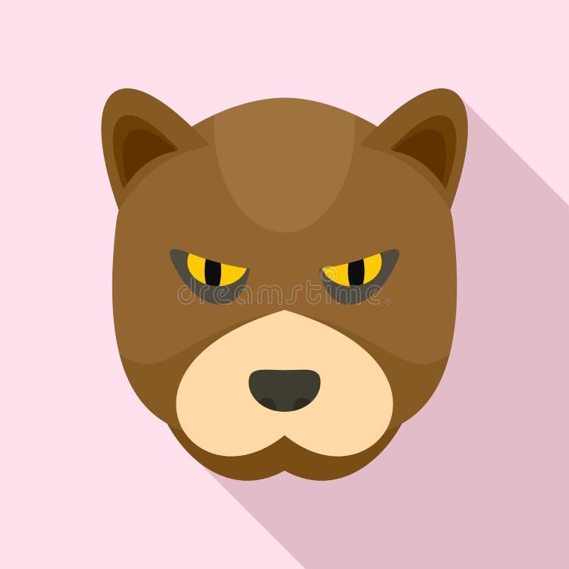 Rasande björnsymbol, lägenhetstil stock illustrationer
