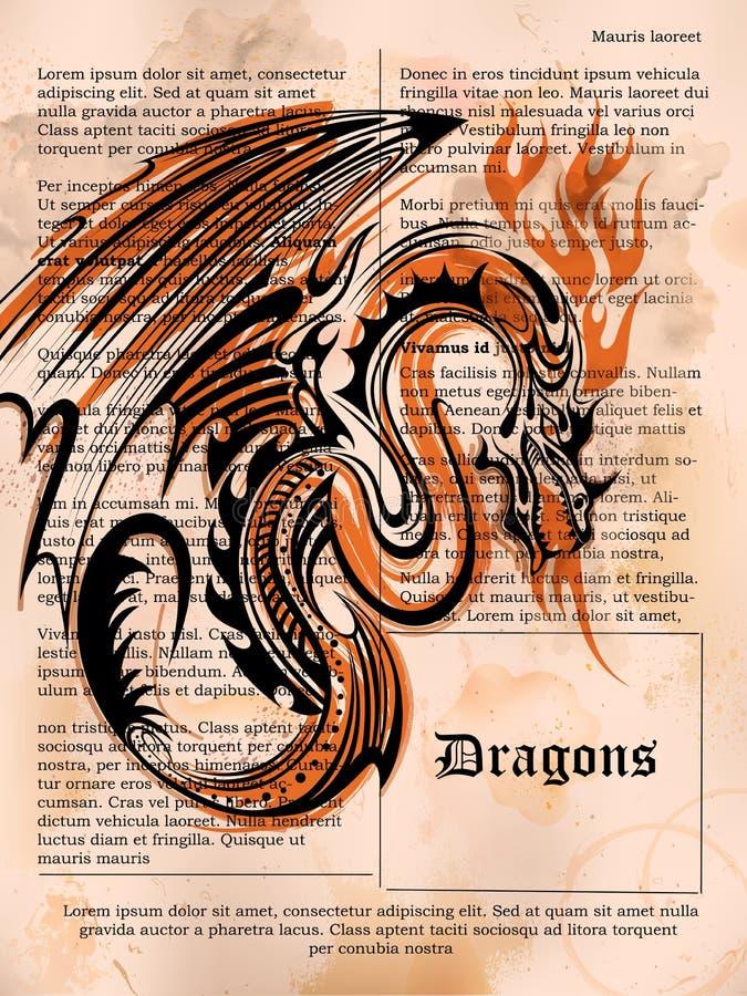 Rasande draketeckning på den gamla tappningboksidan stock illustrationer