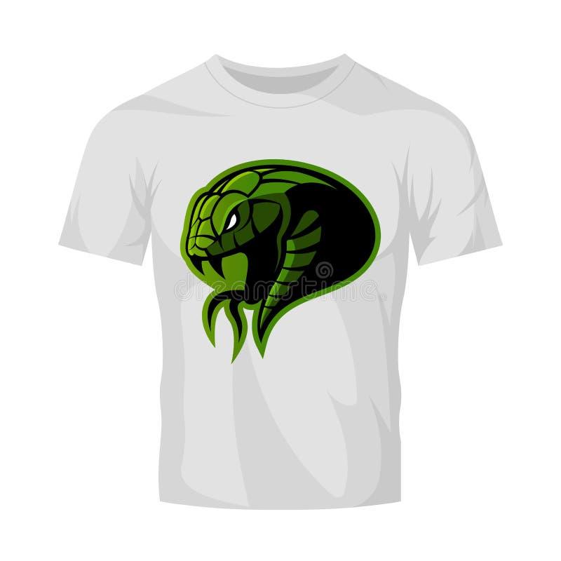Rasande för huvudsport för grön orm som begrepp för logo för vektor isoleras på den vita t-skjorta modellen royaltyfri illustrationer