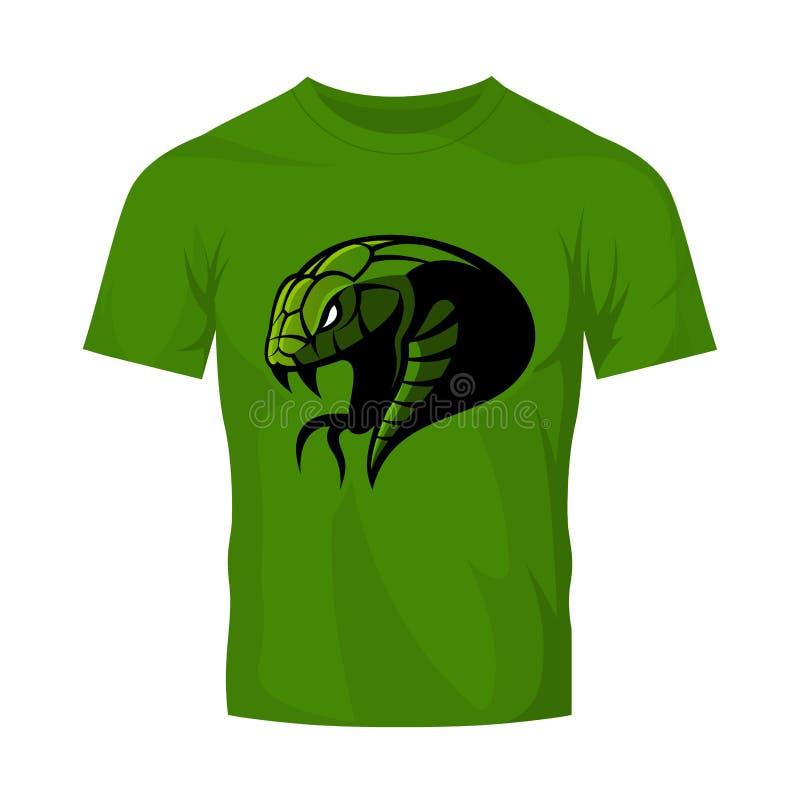 Rasande för huvudsport för grön orm som begrepp för logo för vektor isoleras på grön t-skjorta modell royaltyfri illustrationer