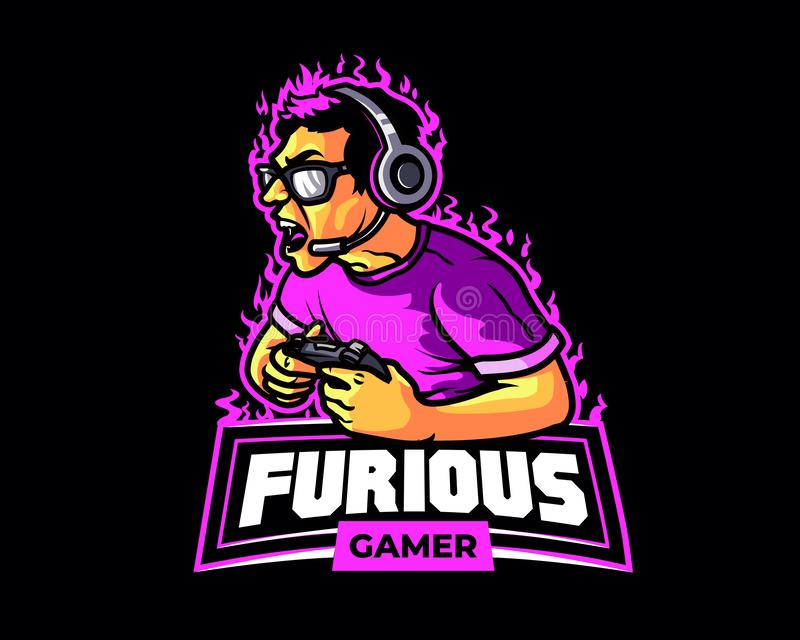 Rasande för sporttecknad film för Gamer E maskot Logo Badge stock illustrationer