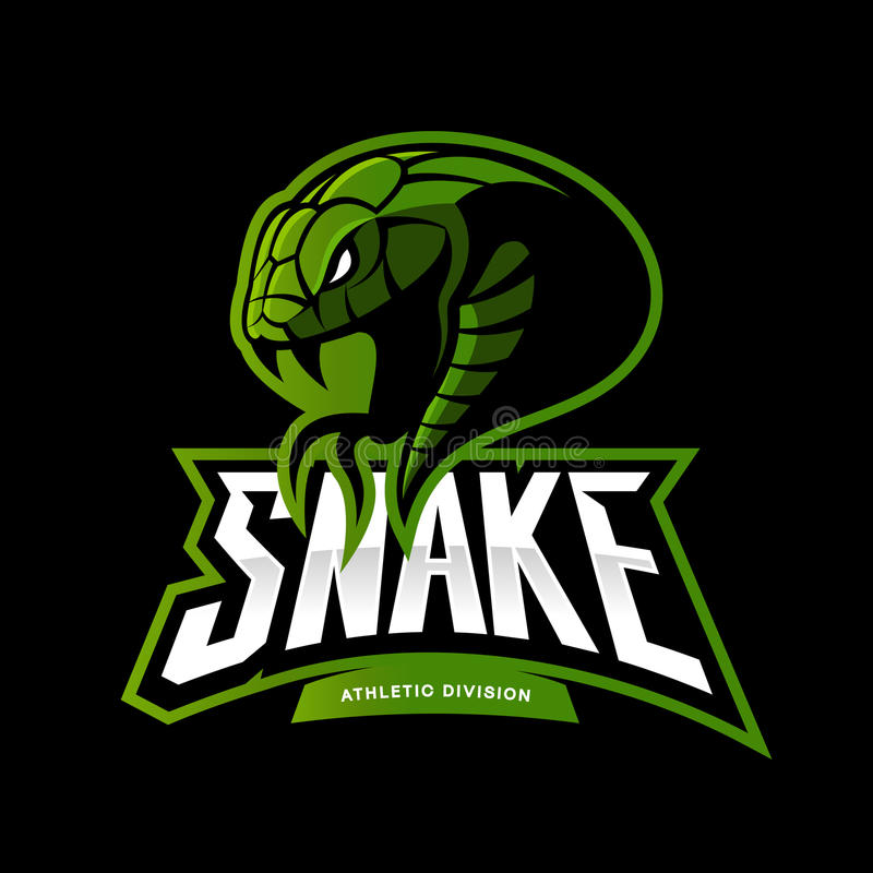 Rasande för sportvektor för grön orm som begrepp för logo isoleras på svart bakgrund vektor illustrationer