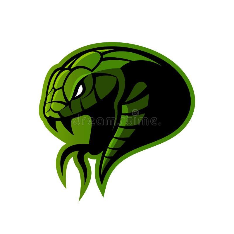Rasande för sportvektor för grön orm som begrepp för logo isoleras på vit bakgrund royaltyfri illustrationer