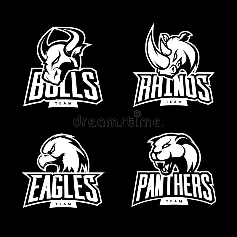 Rasande för sportvektor för noshörning som, för tjur, för örn och för panter mono uppsättning för begrepp för logo isoleras på mö royaltyfri illustrationer