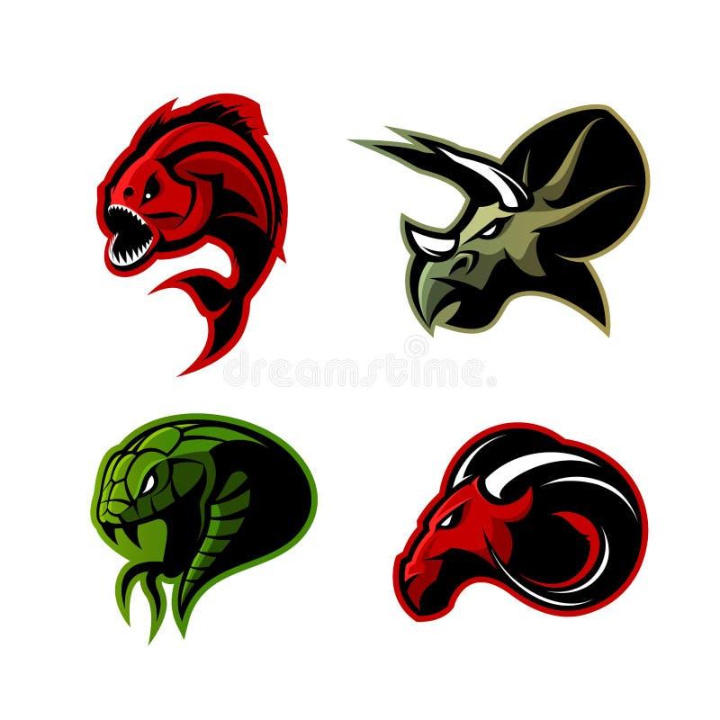 Rasande för sportvektor för piranha som, för RAM, för orm och för dinosaurie head uppsättning för begrepp för logo isoleras på vi vektor illustrationer