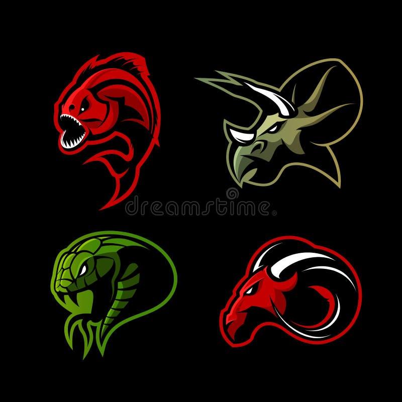 Rasande för sportvektor för piranha som, för RAM, för orm och för dinosaurie head uppsättning för begrepp för logo isoleras på sv vektor illustrationer