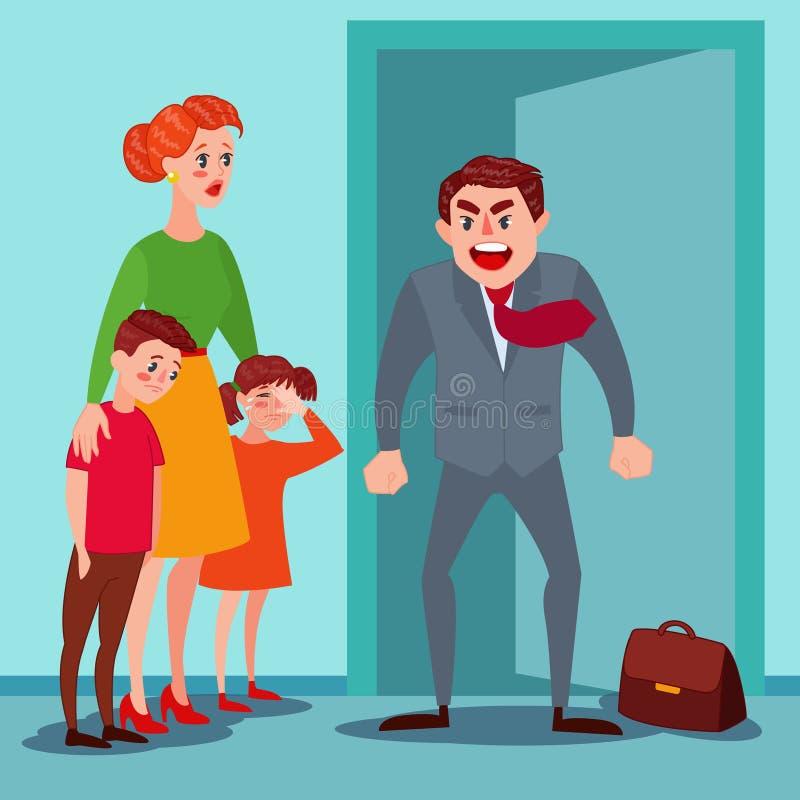 Rasande fader Yelling på hans fru och ungar Familjen grälar förälderfrågor Man som ropar på barn vektor illustrationer