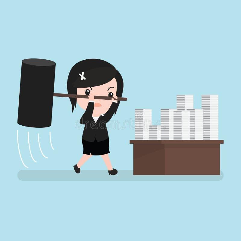 Rasande frustrerad slående legitimationshandlingar för affärskvinna, tecknad film royaltyfri illustrationer