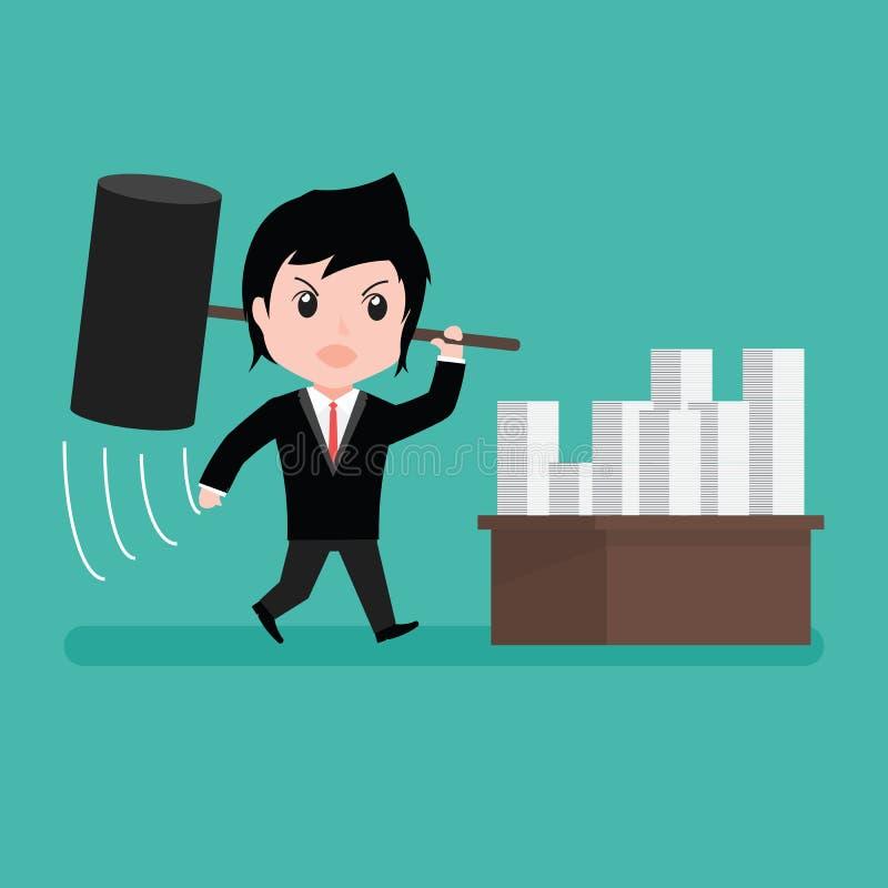 Rasande frustrerad slående legitimationshandlingar för affärsman med tecknade filmen stock illustrationer