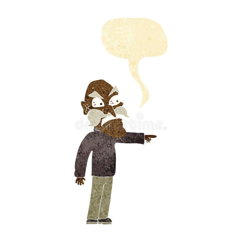 rasande gamal man för tecknad film med anförandebubblan stock illustrationer