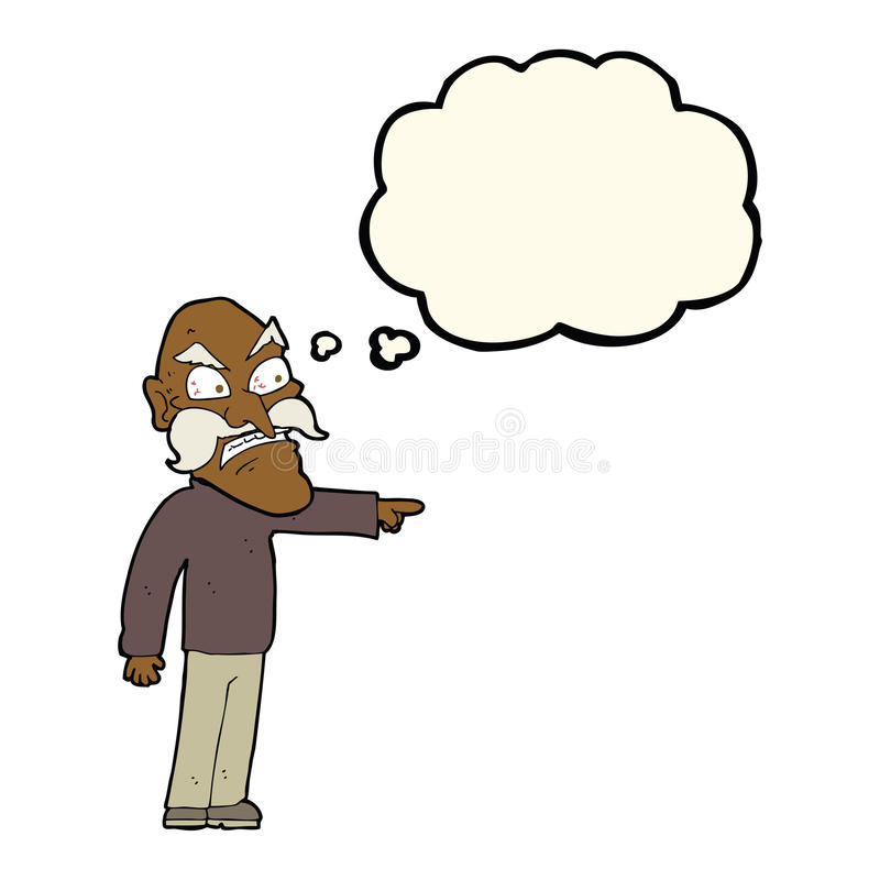 rasande gamal man för tecknad film med tankebubblan stock illustrationer